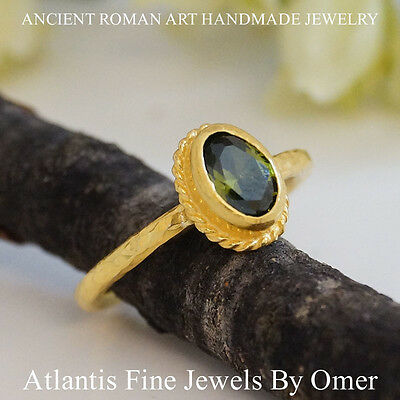 Peridot Stack Ring 925K Sterling Silver 24k Gold Over  Ancient Roman Art By Omer