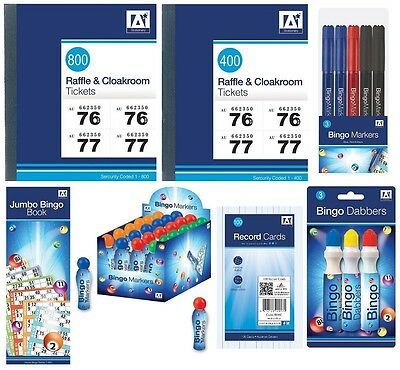 RAFFLE Tickets BINGO Pads & Markers Cloakroom Tombola Lottery Numbers {Anker}