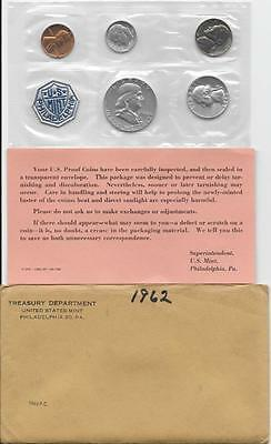 1962 US PROOF SET 90% SILVER IN ORIGINAL MINT PACKAGING with envelope