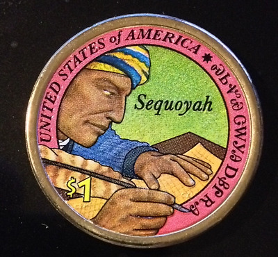 Colorized 2017 D Native American Sequoyah Dollar (Reverse Only)