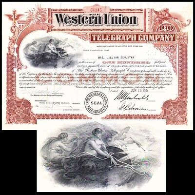 Western Union Telegraph Company NY 1954 Stock Certificate