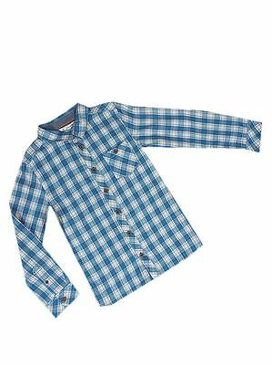 Boys John Lewis Long Sleeve Blue Cotton Check Button Down Shirt Age 3-12 Yrs NEW