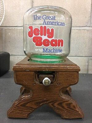 """The Great American Jelly Bean Machine Glass & Wood Candy Dispense Vintage 12"""""""
