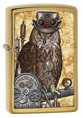 "Zippo ""steampunk Owl"" Brushed Brass Color Lighter ** New **"