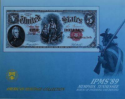1989 BEP Souvenir Card Obverse 1907 5 Dollar United States Note