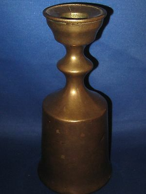 """6.5"""" Antique German Heavy Solid Brass Candle Holder Weighs 3 LBS Very Old Nice"""