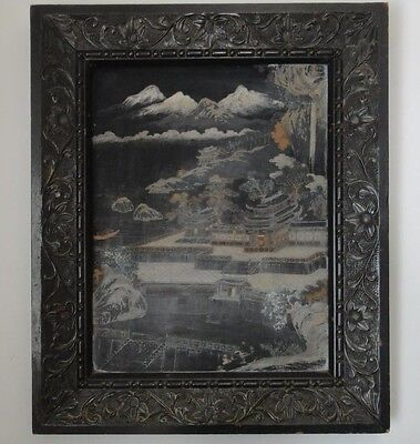 Antique China Chinese Old Handwork Lacquerware on Wood Original carved Frame