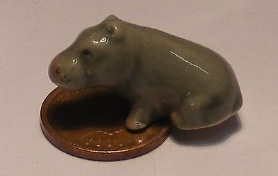 1:12 Scale Dolls House Miniature Ceramic Hippopotamus Ornament Animal Accessory