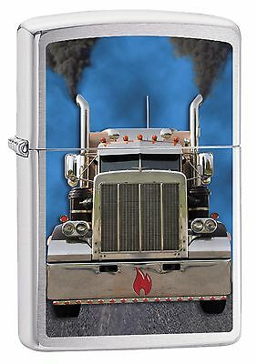 "Zippo ""truck Flame"" Brushed Chrome Color Lighter ** New **"