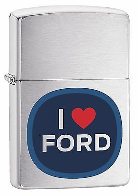 "Zippo ""i Love Ford"" Brushed Chrome Color Lighter ** New **"