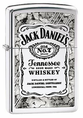 "Zippo ""jack Daniels Wall"" Polished Chrome Color Lighter ** New **"