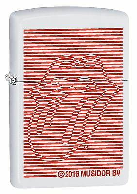 """Zippo """"rolling Stones Tongue"""" White Red Lighter ** New In Box **"""