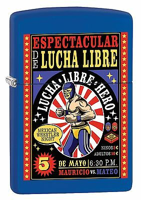 "Zippo ""lucha Libre"" Royal Blue Color Lighter ** New In Box ** Masked Warriors"