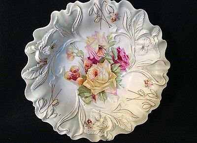 Antique Porcelain P S Germany Deep Bowl W Roses & Berries Prussia Like Mold