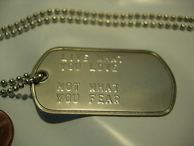 "usa us military necklace dog tag tags 26"" live what you love not what you fear"