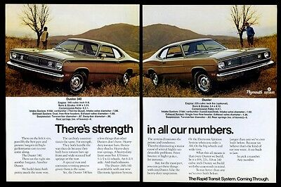 1972 Plymouth Duster 340 2 car color photo vintage print ad