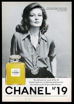 1975 Chanel No.19 perfume bottle and woman photo vintage print ad