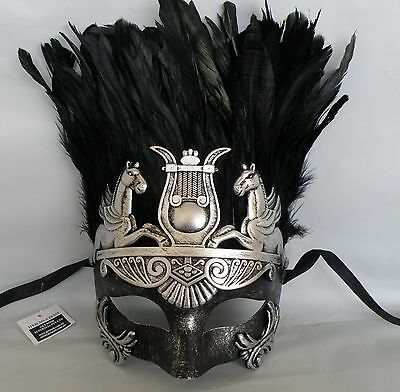Mens Egyptian Masquerade Face Mask Black & Silver *NEW* Express Post Option