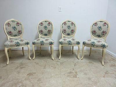 4 Vintage French Carved Painted Century Dining Room Side Chairs Louis XV
