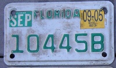 FLORIDA 2005 Motorcycle Cycle  License plate    10445 B  ^