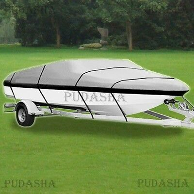 Waterproof 600D Boat Cover Trailer Ski Fish Bass V-hull 17' - 19' Length PBT2H