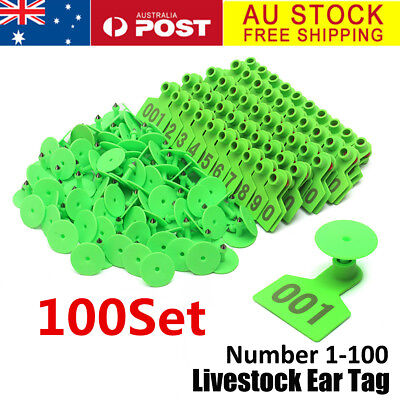 AU 01-100 Number Animal Goat Sheep Pig Cow Cattle Use Ear Tag Livestock Labels