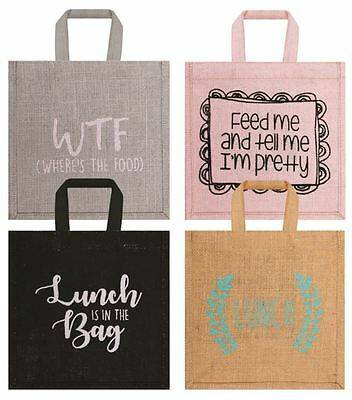 Jute Slogan Woven Lunch Bag For Office Work School Printed Hassian Bag Natural