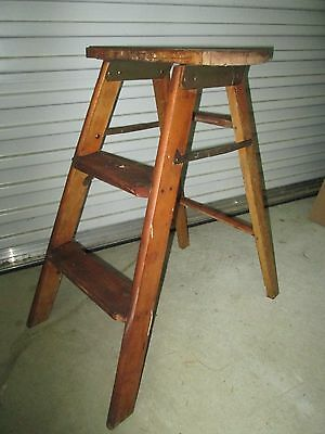 Vintage Primative ~ Country Style Wood Folding STEP LADDER / Nice aged Finish