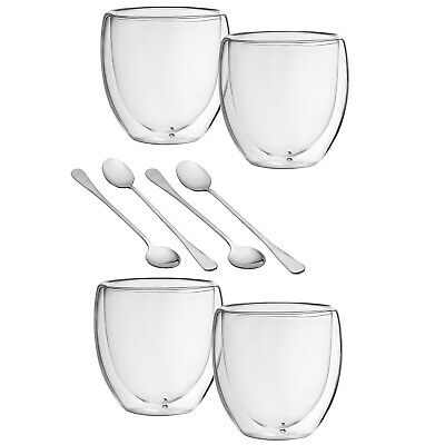 Double Walled Coffee Glasses Thermal  Glass x2 For Bodum & x2 Spoons