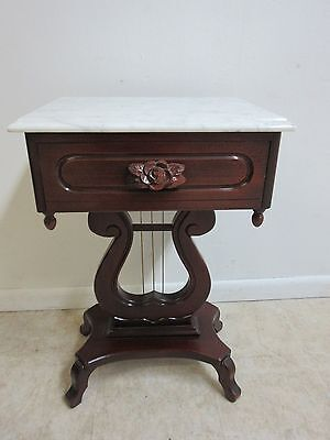 Vintage Carlton Mclendon Mahogany Marble Top Victorian End Table Night Stand A