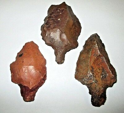 Lot Of 3 Aterian Points North Africa Mousterian Neanderthal