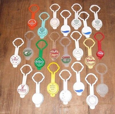 Large Lot of Vintage Plastic Reuse-able Pop Bottle Reseal Caps Flip-Top
