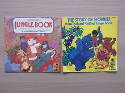 """2 x  Jungle Book 7"""" vinyl Songs From Jungle Book & The Story Of Mowgli 1974"""
