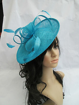 NEW TURQUOISE SINAMAY & FEATHER FASCINATOR HAT.Shaped saucer disc,Wedding..races