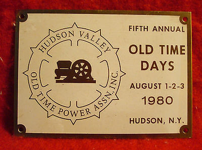 1980 Hudson Valley Old Time Power Association 5th Annual Brass Show Plaque NY