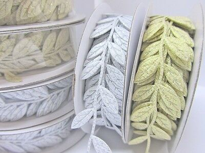 "10 yards Gold OR Silver Vine Leaves 1"" Garland Ribbon/Craft/Trim R83"