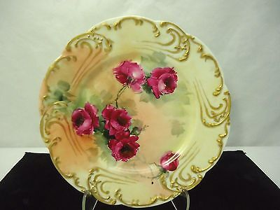 Antique Cabinet Plate Roses & Gold H & Co. France Blank Signed Mildred 7 3/4""