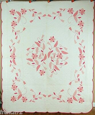 BEAUTIFUL Vintage Floral Leafy Vine Applique Antique Quilt ~SIGNED & DATED 1948!