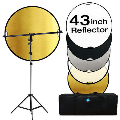 Lusana Reflector Kit 110CM 5 IN 1 REFLECTOR+Swivel Head Arm SUPPORT+LIGHT STAND