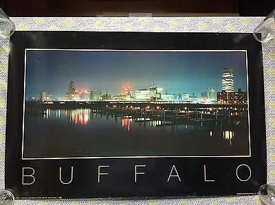 Buffalo NY Vintage Waterfront Skyline Panoramic art poster print 22x36