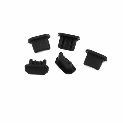 5Pcs Micro-USB Black Silicone Anti-dust Stopper/Plug for Protect Data Port Of PC