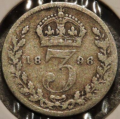 British Silver Threepence - 1896 - Queen Victoria - $1 Unlimited Ship