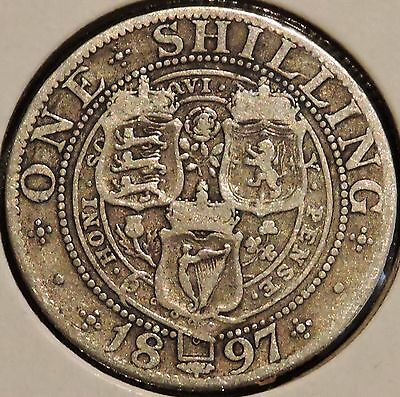 British Silver Shilling - 1897 - Queen Victoria - $1 Unlimited Shipping