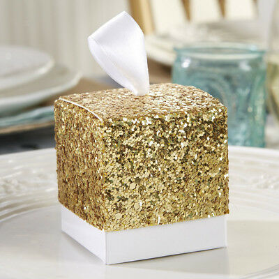 10Pcs Luxury Glitter Gold Wedding Favour Sweet Cake Gift Candy Boxes Bags