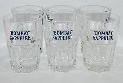 BOMBAY SAPPHIRE GIN 6 Verres tumbler 34 cl NEUF