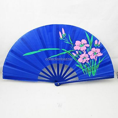 Blue Chinese Kung Fu Tai Chi Martial Arts Flower Plastic Hand Fan