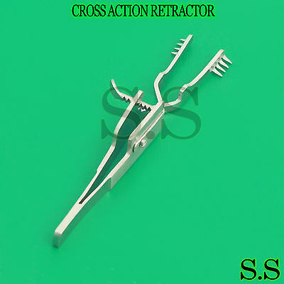 "New Automatic (Cross Action) Skin Retractor 4"" Blunt,4X4 Prongs-Surgical Inst"