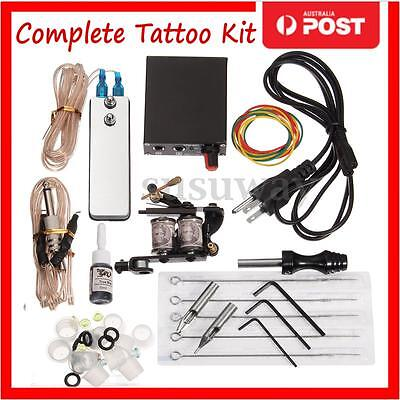 Pro Complete Tattoo Kit Machine Gun Power Supply Equipment Color Cord Inks Set