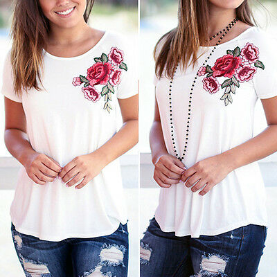 Fashion Women Lady Loose Short Sleeve Tops Blouse Shirt Casual Cotton T-Shirt