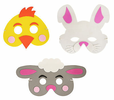 Easter Children/'s Foam Chicken Bunny and Sheep Fancy Dress Accessory Mask 3pc